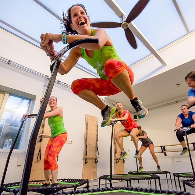 Jumping fitness on trampoline at Studio AnnaMora